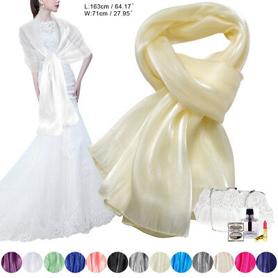 Evening Wedding Prom Ball Bridal Bridesmaid Dress Chiffon Silky Stole Shawl Wrap