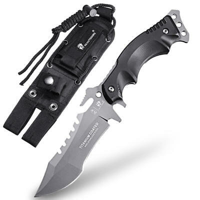 HX OUTDOORS D 123 Tactical Fixed Blade Knife for Outdoor Survival TITANIUM GREY