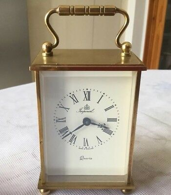 Vintage Brass Quartz Imperial Carriage Clock Made In Uk With W.Germany Movement