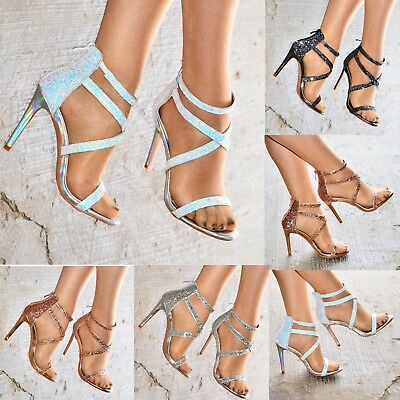 Ladies Stiletto Glitter Heeled Sandals Caged High Heel Open Toe Shoes Strap Size