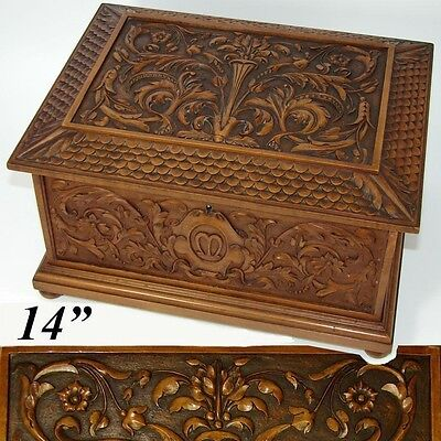 "Antique French Renaissance Revival Carved 14"" Chest, Jewelry Cashmeres Trousseau"