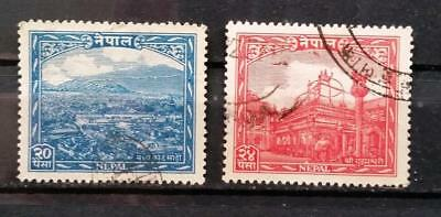 NEPAL - 1949 - Local Motives - Lot of 2 USED stamps