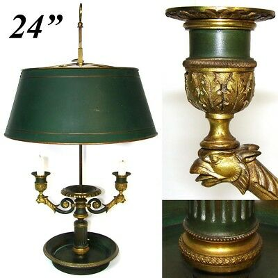 Antique French Bouillotte Candle Lamp, 2nd Empire Period 3-Branch, Tole Shade