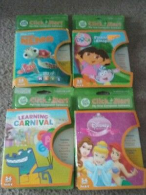 Leap Frog Click Start My First Computer Game Cartridges Lot Of 4 Disney Nick Jr