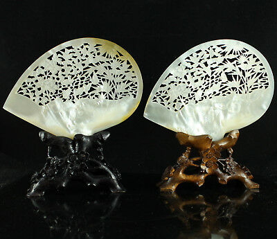 19ThC CHINESE MOTHER OF PEARL CARVED & PIERCED SHELL FLOWERS & BIRDS WOOD STAND