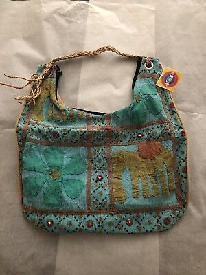 Ethnic patchwork antique cotton textile fabric, hand made in Nepal large bag,