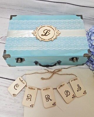 CARD BOX WITH Cards Banner Aqua Wedding Envelope Box Sweet 16 Box ...