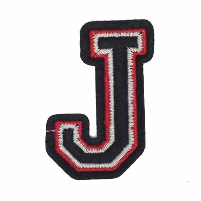 J Letter Black Red (Iron On) Embroidery Applique Patch Sew Iron Badge