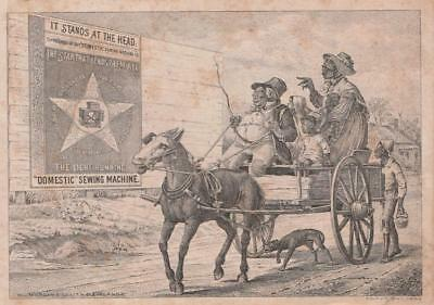 Trade Card~1882~Domestic Sewing Machine~Caricature of Black Family in Wagon