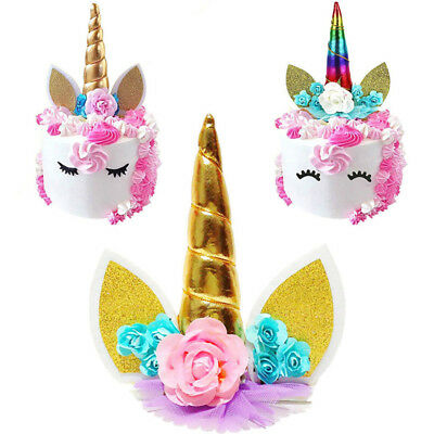 1Pcs Glitter 3D Unicorn Horns Cake Topper Cake Birthday Party Wedding Decoration