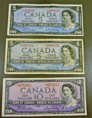 Lot 3 Series 1954 Bank Of Canada Notes Two $5.00 and a $10.00 Banknote Free Ship