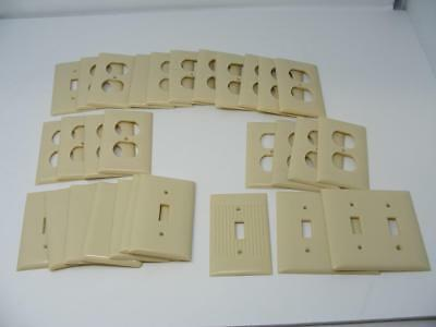 29 Vintage Sierra Art Deco Ivory/Cream Bakelite Outlet Switch  Covers Ribbed