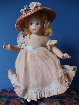 "Vtg 1930s MADELAINE DE BAINE 7"" Little Betty Mme Alexander Composition Doll Box"