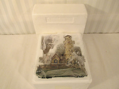2000 Thomas Kinkade Hawthorne Seaside Village Guiding Point Lighthouse Coa