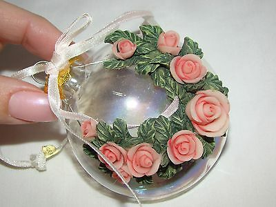 Victorian Style Clear Glass 3D Carved Roses and Leaves Christmas Tree Ornament