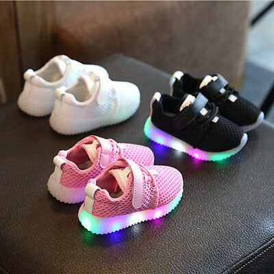 Fashion Kids LED Light Up Luminous shoes Boys Girls Causal Sneakers Size 21-25