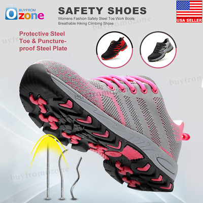 Womens Fashion Safety Steel Toe Work Boots Breathable Hiking Climbing Shoes