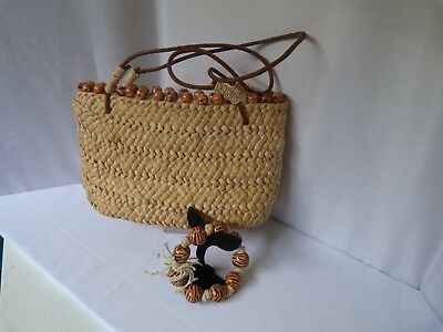 Vintage straw basket/bag with hand decorated bead trim, fabulous bangle included