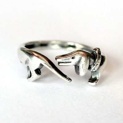 Dachshund Ring Adjustable Wiener Dog Doxie Ring Antique Silver Ships from USA
