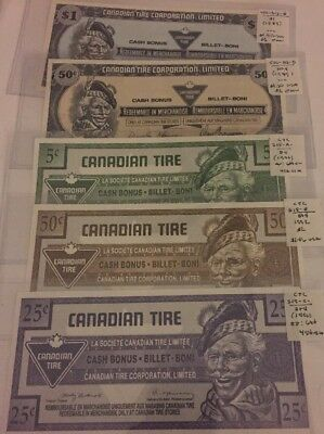 Canada Tire Money Mixed Year Lot Of 5 #35
