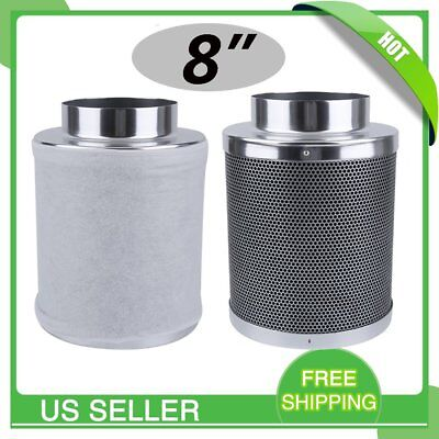 "NEW 8"" Air Carbon Filter for Inline Fan Scrubber Virgin Charcoal Odor Control US"