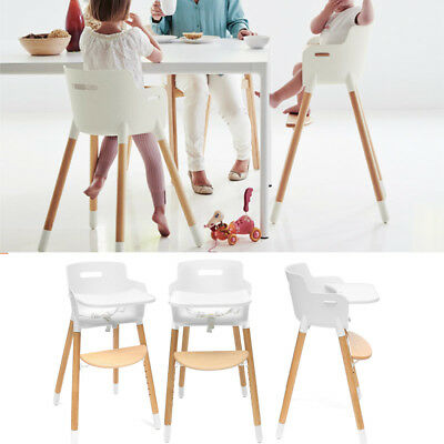 Baby Kid High Chair Adjustable Wooden Childcare Feeding Highchair With Tray 38''