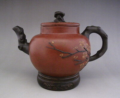 Fine Chinese Antique Yixing Zisha Carved purple Clay Teapot