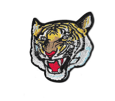 ROARING TIGER Iron on / Sew on Patch Embroidered Badge Motif Animal Cat PT320