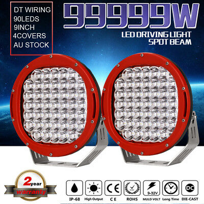 99999W 9inch Cree LED Driving Lights Spotlights Round Offroad 4X4 HID Work ATV