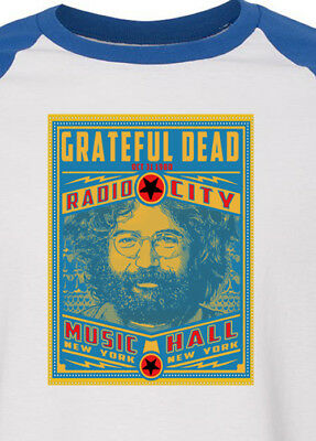 GRATEFUL DEAD new blue T SHIRT   jerry garcia ALL SIZES s m lg xl bw raglan blue