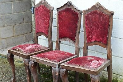 Set Of 3 Antique Original Chippendale Dining Chairs Very Rare Hay Stuffed