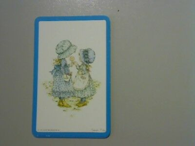 "1 Swap/Playing Card - ""Sarah Kay"" Cute Little Girls in Blue (Blank Back)"
