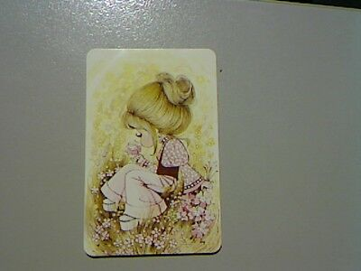 "1 Swap/Playing Card - Cute  Girl ""Joy"" Sitting Among the Flowers (Blank Back)"