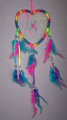 "Hand Made Dream Catchers - Heart Rainbow Tie Dye Colors 4"" 6Pc Lot (NPDC245 ^*)"