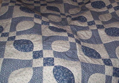 Wonderful Homemade Baby/Lap Quilt    Blue and White Quilted Design with flowers