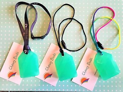 Silicone Autism Chew Necklace Pendant Strong and Durable - Sea Green