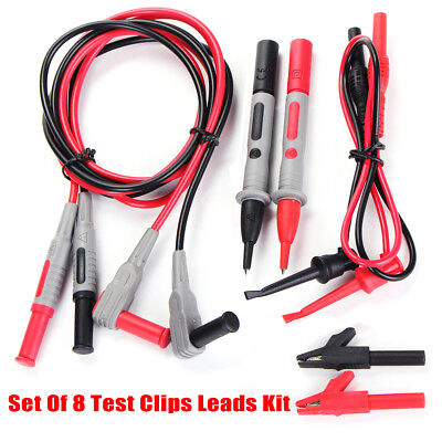 8pc Set Test Clips Leads Kit For Fluke Multimeter Heavy Duty Banana Tester Probe