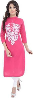 Pink Indian Bollywood embroidered cotton Kurta Kurti casual