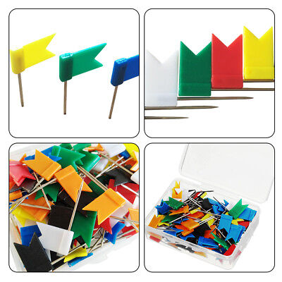 Flag Marker Shape Map Pins Cork Notice Board Push Assorted Office Home Colorful