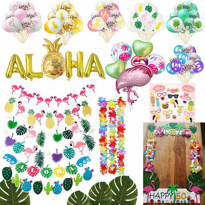 Hawaiian Bunting Tropical Flamingo Pineapple Summer Party Decor Banner Garland