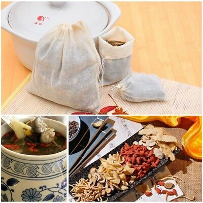 Cotton Muslin Drawstring Reusable Filter Bags Package Bath Soap Herbs Tea New AU