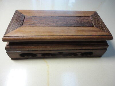 "CHINA BLACK HARDWOOD NICE CARVED Rectangle BONSAI POT/VASE STAND 130mm 5.1"" SA"