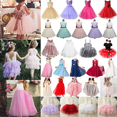 Kids Flower Girl Princess Dress Wedding Bridesmaid Pageant Party Prom Tutu Dress