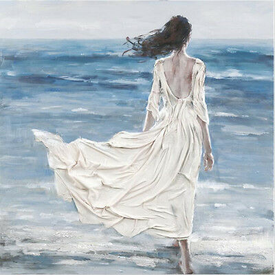 YA#087 Hand-painted Figure painting on canvas Beach Beauty No Frame 24*24in