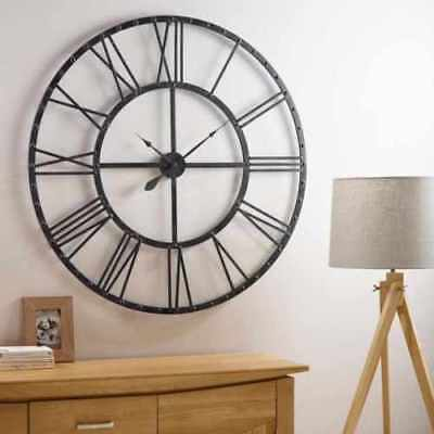 Large Metal Home Wall Clock Big Roman Numberals Giant Open Face 40cm/60cm M2