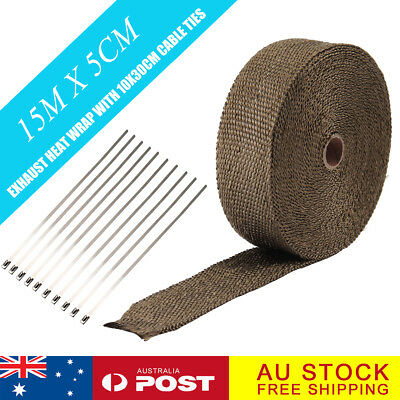 Heat Resistant 2000F Exhaust Wrap Brown 15M*50mm + 10 Stainless Steel Ties