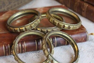 Five Large Antique French Gilt Toleware Curtain Rings