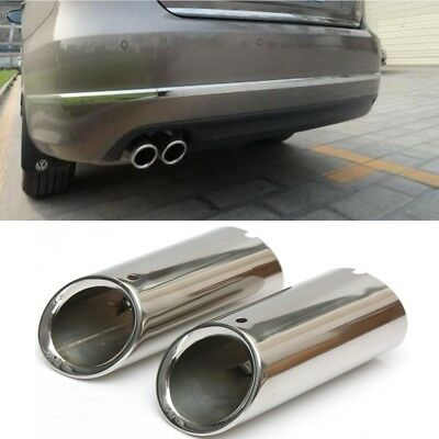 2x Stainless Steel Exhaust  Muffler Tip Trim Tail Pipe For VW Scirocco MK3 09-14