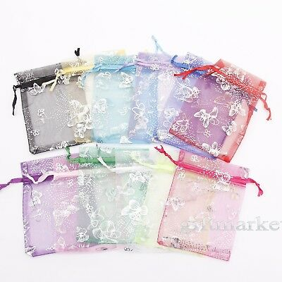 100pcs Butterfly Organza Candy Drawstring Gift Bags Jewelry Pouch Wedding Favors