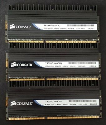 6GB (3x2GB) Corsair Dominator DDR3 Triple Channel (PC3-12800) (TR3X6G1600C8D)